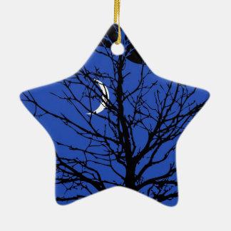 Moonscape in Cobalt Blue and Black Ceramic Ornament