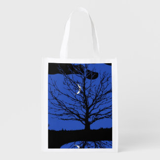Moonscape in Cobalt Blue and Black Grocery Bag