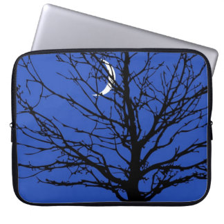 Moonscape in Cobalt Blue and Black Laptop Sleeve