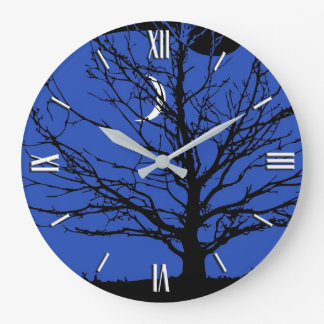 Moonscape in Cobalt Blue and Black Large Clock