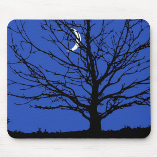Moonscape in Cobalt Blue and Black Mouse Pad
