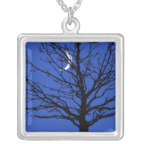 Moonscape in Cobalt Blue and Black Silver Plated Necklace