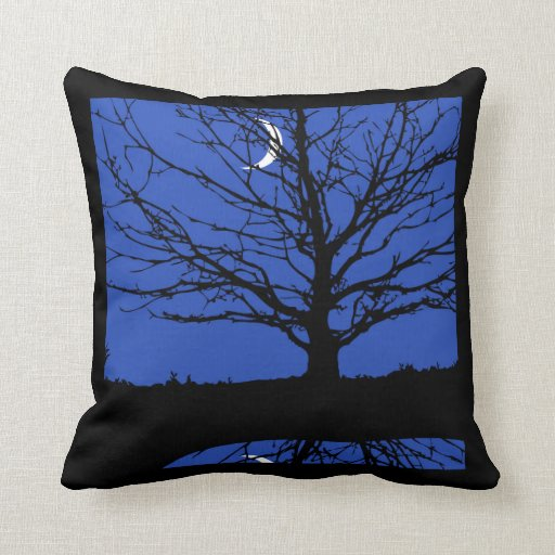 Cerulean Blue Throw Pillows : Moonscape in Cobalt Blue and Black Throw Pillows Zazzle