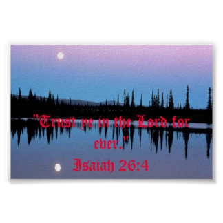 Moonscape Over Water Bible Scripture Poster