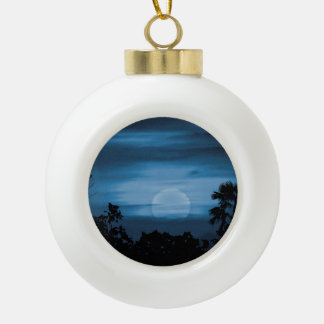 Moonscape Silhouette Ilustration Ceramic Ball Christmas Ornament