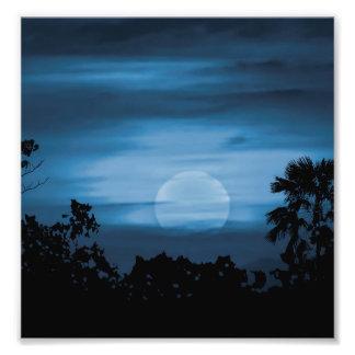 Moonscape Silhouette Ilustration Photo Print
