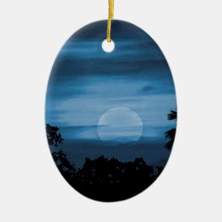 Moonscape Silhouette Ilustration Print Ceramic Ornament