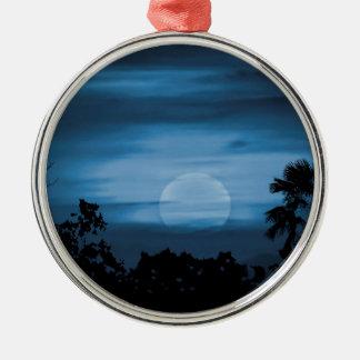 Moonscape Silhouette Ilustration Print Metal Ornament
