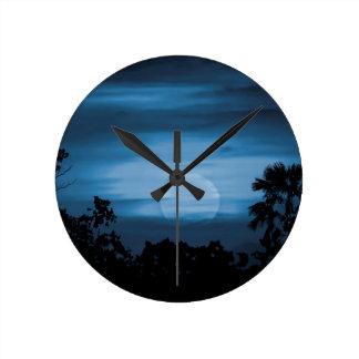 Moonscape Silhouette Ilustration Print Round Clock