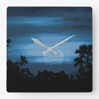 Moonscape Silhouette Ilustration Square Wall Clock