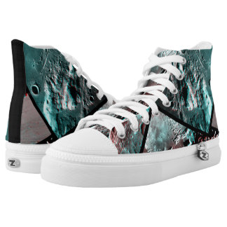 Moonscape Space Photo Anaglyph High-Top Sneakers