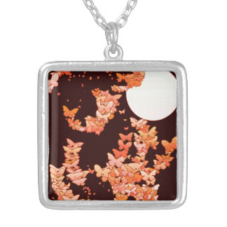 Moonscape with butterflies - coral, chocolate silver plated necklace
