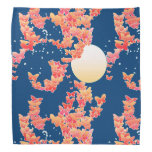 Moonscape with butterflies - coral, teal blue bandanna