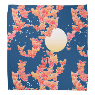 Moonscape with butterflies - coral, teal blue bandana