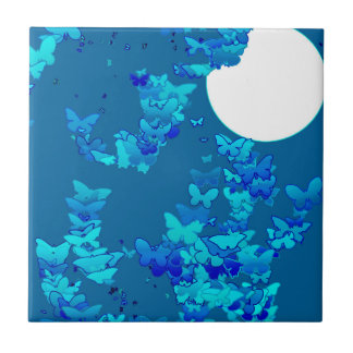 Moonscape with butterflies - deep blue ceramic tile