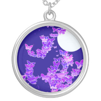 Moonscape with butterflies - lilac, dark blue silver plated necklace