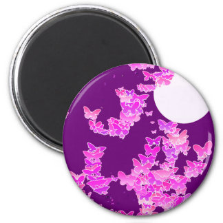 Moonscape with butterflies - orchid, amethyst refrigerator magnet