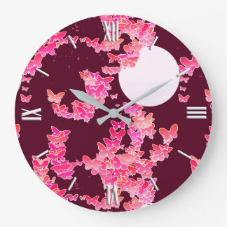 Moonscape with butterflies - pink, burgundy large clock