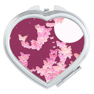 Moonscape with butterflies - pink, burgundy mirror for makeup