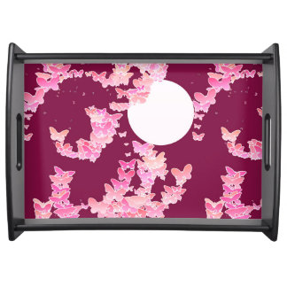 Moonscape with butterflies - pink, burgundy serving tray