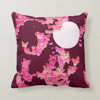 Moonscape with butterflies - pink, burgundy throw pillow