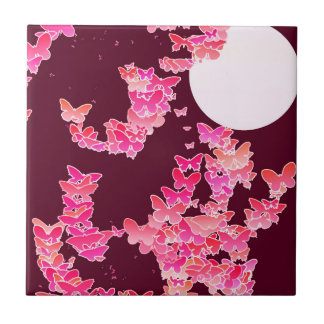 Moonscape with butterflies - pink, burgundy tile