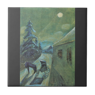 Moonscape with horse by Walter Gramatte Ceramic Tile