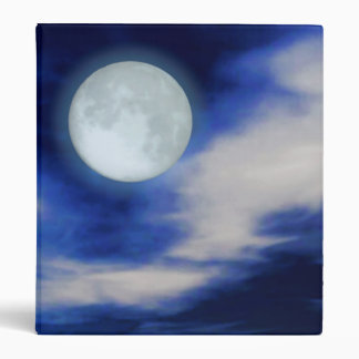 Moonscape with moonlit clouds 3 ring binders