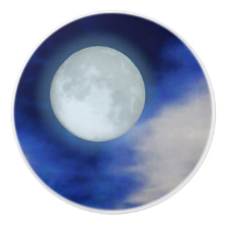 Moonscape with moonlit clouds ceramic knob