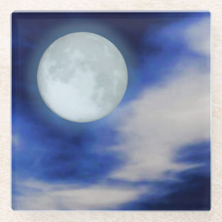 Moonscape with moonlit clouds glass coaster