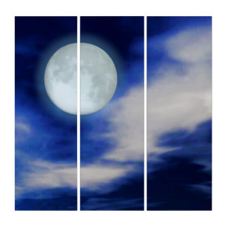 Moonscape with moonlit clouds triptych