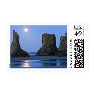 Moonset, Bandon Beach, Oregon. Stamp