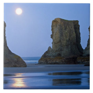 Moonset, playa de Bandon, Oregon Azulejo Cuadrado Grande