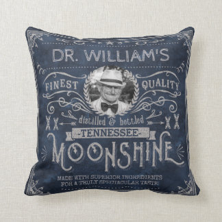 Moonshine Hillbilly Medicine Vintage Custom Blue Throw Pillow
