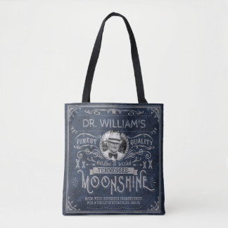 Moonshine Hillbilly Medicine Vintage Custom Blue Tote Bag