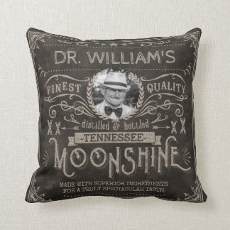 Moonshine Hillbilly Medicine Vintage Custom Brown Throw Pillow