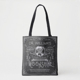 Moonshine Hillbilly Medicine Vintage Custom Gray Tote Bag