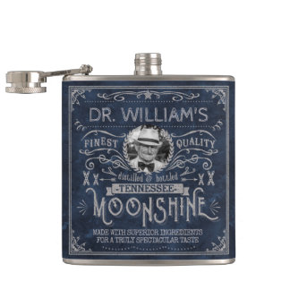 Moonshine Vintage Hillbilly Medicine Custom Blue Hip Flask