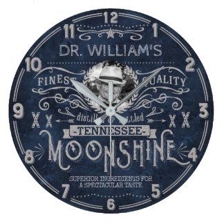 Moonshine Vintage Hillbilly Medicine Custom Blue Large Clock