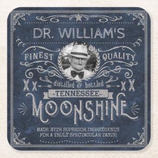 Moonshine Vintage Hillbilly Medicine Custom Blue Square Paper Coaster