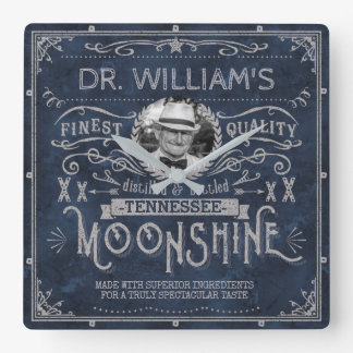 Moonshine Vintage Hillbilly Medicine Custom Blue Square Wall Clock