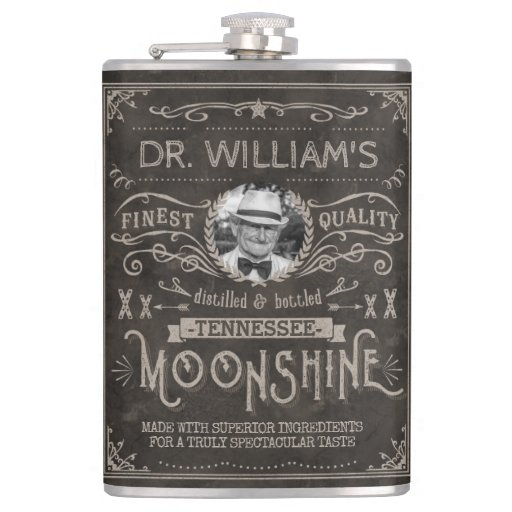 Moonshine Vintage Hillbilly Medicine Custom Brown Hip Flask