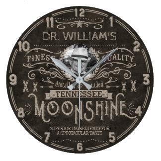 Moonshine Vintage Hillbilly Medicine Custom Brown Large Clock