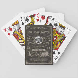 Moonshine Vintage Hillbilly Medicine Custom Brown Playing Cards