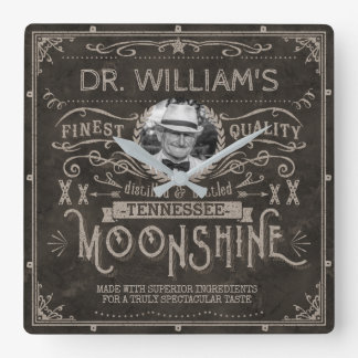 Moonshine Vintage Hillbilly Medicine Custom Brown Square Wall Clock