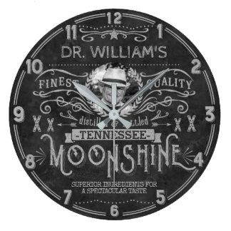 Moonshine Vintage Hillbilly Medicine Custom Gray Large Clock