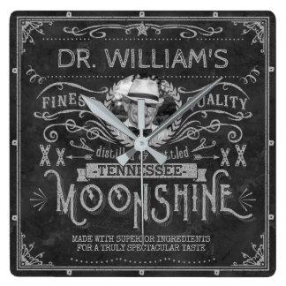 Moonshine Vintage Hillbilly Medicine Custom Gray Square Wall Clock