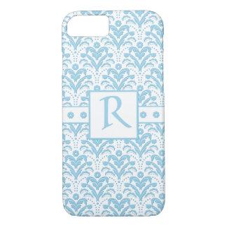 Moonstone Blue Pretty Art Deco Retro Floral Damask iPhone 7 Case