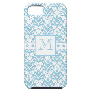 Moonstone Blue Pretty Art Deco Retro Floral Damask iPhone SE/5/5s Case