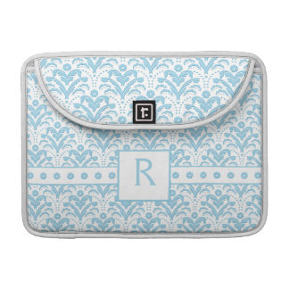 Moonstone Blue Pretty Art Deco Retro Floral Damask MacBook Pro Sleeves